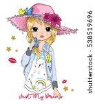 Stock vector cute girl t shirt print book illustrations for children 538519696