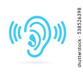 ear listen vector icon on white ... | Shutterstock .eps vector #538526398