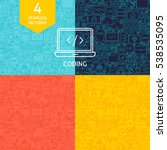 line coding patterns. four... | Shutterstock .eps vector #538535095