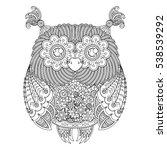 vector cute zentangle owl... | Shutterstock .eps vector #538539292