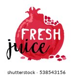 pomegranade fruit label and... | Shutterstock .eps vector #538543156