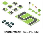 set isometric road and vector... | Shutterstock .eps vector #538543432
