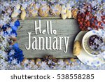 hello january composition of... | Shutterstock . vector #538558285