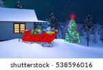 house of santa claus decorated... | Shutterstock . vector #538596016
