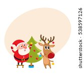 funny santa claus and reindeer... | Shutterstock .eps vector #538597126