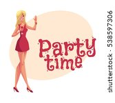 young clubber girl in short red ... | Shutterstock .eps vector #538597306
