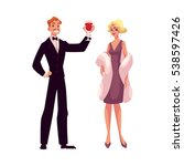 man and woman in 1920s style... | Shutterstock .eps vector #538597426