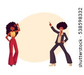 man and woman with afro hair... | Shutterstock .eps vector #538598332