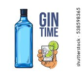 blue gin bottle and hand... | Shutterstock .eps vector #538598365
