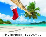 red christmas sock with... | Shutterstock . vector #538607476