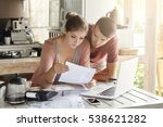 young couple managing finances  ... | Shutterstock . vector #538621282