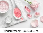 Stock photo organic cosmetics with rose oil on white background top view 538638625