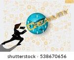 businessman release the power... | Shutterstock .eps vector #538670656