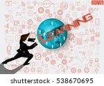 businessman release the power... | Shutterstock .eps vector #538670695