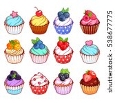 set of cupcakes with different... | Shutterstock .eps vector #538677775