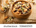 dried fruit and nuts trail mix... | Shutterstock . vector #538683505