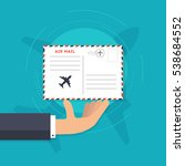 airmail concept. hand holding... | Shutterstock .eps vector #538684552