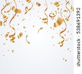 gold ribbon and confetti... | Shutterstock .eps vector #538691392