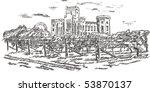 vintage   vineyard and castle ... | Shutterstock .eps vector #53870137
