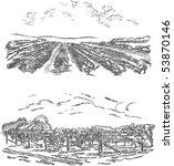 vintage   vineyard and castle ... | Shutterstock .eps vector #53870146