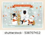 merry christmas postcard design ... | Shutterstock .eps vector #538707412