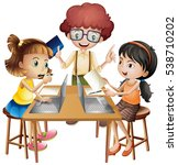 three kids working in group on... | Shutterstock .eps vector #538710202