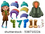 girl and different types of... | Shutterstock .eps vector #538710226