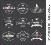 christmas emblem and label... | Shutterstock .eps vector #538720672