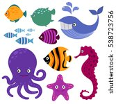 cute vector sea creatures.... | Shutterstock .eps vector #538723756
