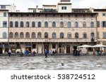 Small photo of FLORENCE, ITALY - NOVEMBER 6, 2016: people near Palazzo dell Antella on Piazza di Santa Croce. Piazza Santa Croce is one of the main plazas or squares located in the central part of Florence city