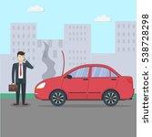 businessman with broken car.... | Shutterstock .eps vector #538728298
