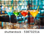 multicolored cocktails at the...   Shutterstock . vector #538732516