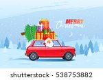 retro car with christmas tree... | Shutterstock .eps vector #538753882