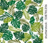 tropical plants pattern | Shutterstock .eps vector #538781356
