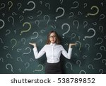business woman with question... | Shutterstock . vector #538789852