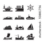 different types of boat and... | Shutterstock .eps vector #53881756