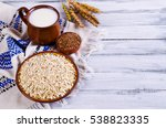 dry oat flakes with flax seeds... | Shutterstock . vector #538823335