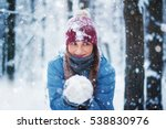 Woman Holding The Snowball In...