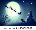 santa claus in sleigh and... | Shutterstock . vector #538835092