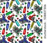 tattoo machine. paints.... | Shutterstock .eps vector #538837306