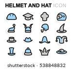 vector flat helmet and hat... | Shutterstock .eps vector #538848832