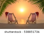 two striped deckchairs with red ... | Shutterstock . vector #538851736