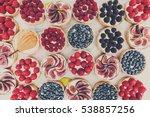 fruit and berry tartlets... | Shutterstock . vector #538857256