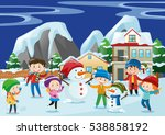 children playing snow in winter ... | Shutterstock .eps vector #538858192