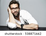 leaning man in glasses and... | Shutterstock . vector #538871662
