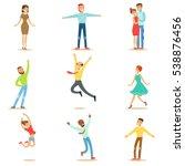 people overwhelmed of happiness ... | Shutterstock .eps vector #538876456