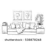 modern interior room sketch.... | Shutterstock .eps vector #538878268