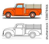 Pick Up Truck. Vector Doodle...
