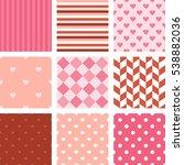 set of pink seamless pattern...