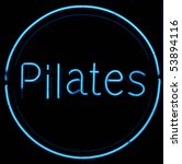Pilates Neon Blue Sign With...